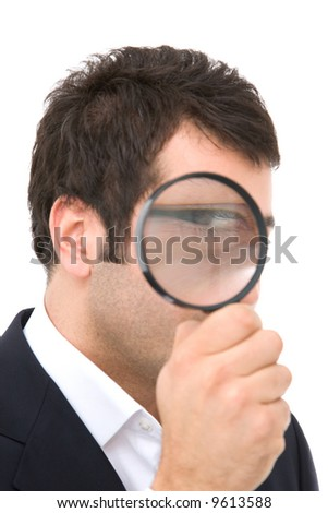 business search concept with businessman and magnify glass