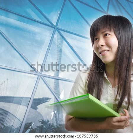 business secretary woman holding paper file, isolated on white - stock photo