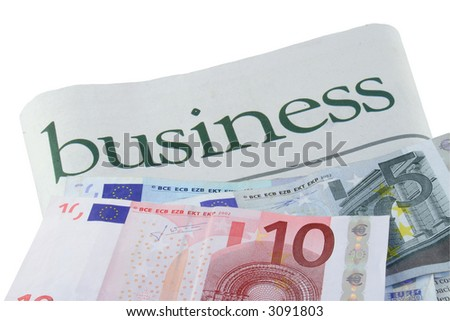 Business section of a newspaper and Euros
