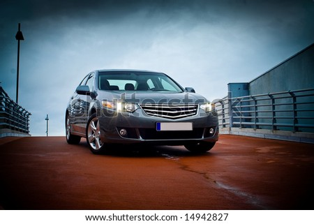 Business sedan front view. - stock photo