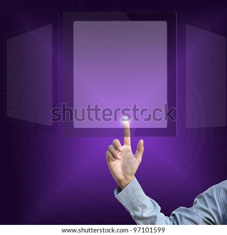 business selection concept by businessman pointing business object on gradient purple background.