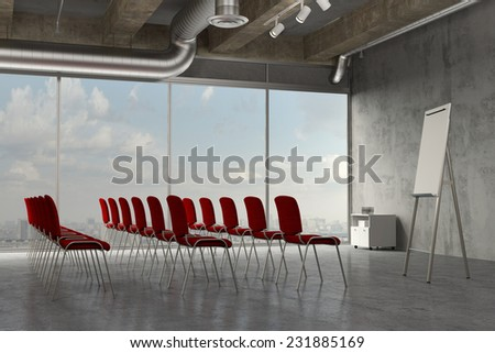 Business seminar room with flipchart for a presentation in an industrial loft (3D Rendering) - stock photo