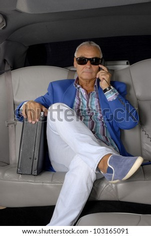 Business senior man on phone inside a car holding a suitcase. - stock photo