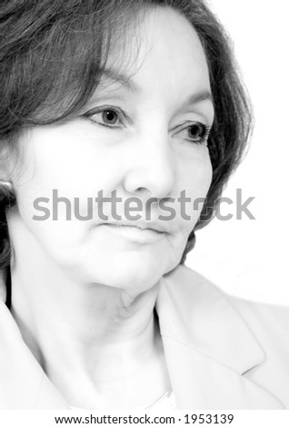 business senior portrait over white in a pensive expression - black and white - stock photo