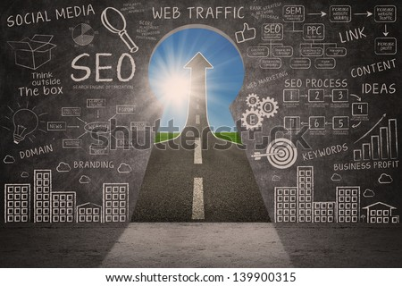 Business SEO doodle on blackboard with success road through a keyhole - stock photo