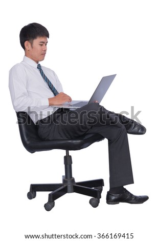 Business seriously think that sitting in the chair  handles  business people wearing suits, elegant and tie isolated over a white background.  - stock photo