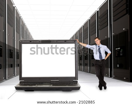 business servers made in 3d with their manager and a laptop in front - space on the laptop screen for you to put your message - stock photo