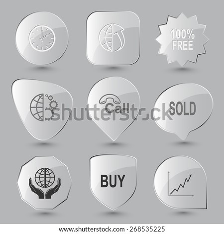 Business set. Raster glass buttons. - stock photo