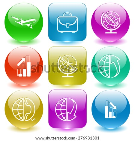 Business set. Raster set glass buttons. - stock photo
