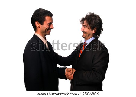 business shake hand over white background - stock photo