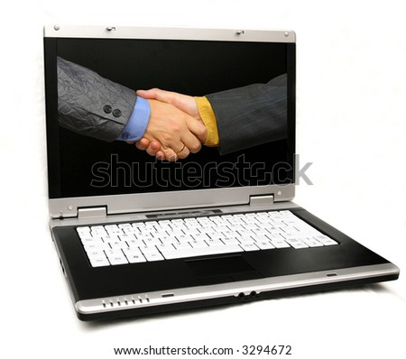 business shake inside a laptop, isolated - stock photo