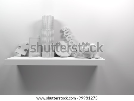 Business Shelf with business objects - conceptual image. - stock photo