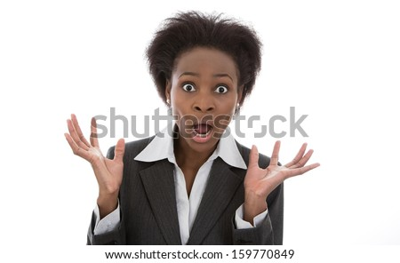 Business: shocked black woman speechless isolated on white background - stock photo