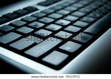 business silver and black keyboard - stock photo