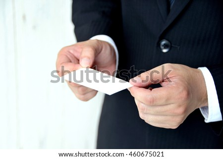 Business situation, exchanging business card