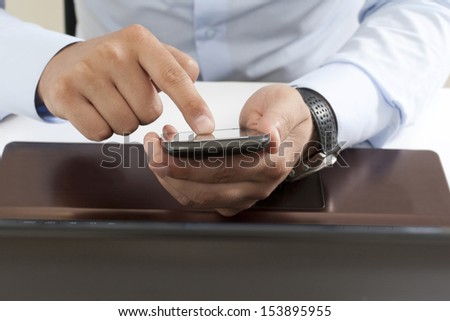 business situation in the office, front macro view - stock photo