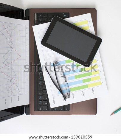 Business Situation on the White Table - stock photo