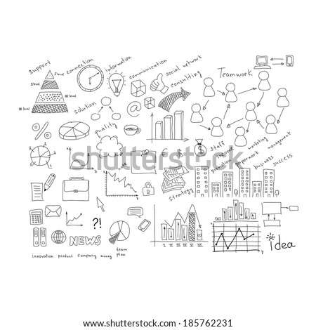 Business sketches: charts, buildings, objects, team, words and more. Isolated on white background - stock photo