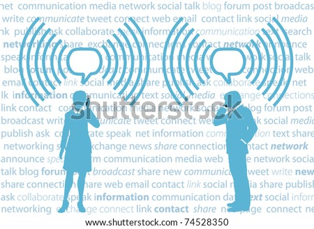 Business smartphone people communicate in WiFi speech bubbles on social media background - stock photo