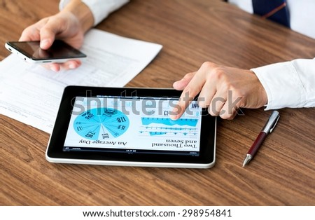 Business, smartphone, using. - stock photo