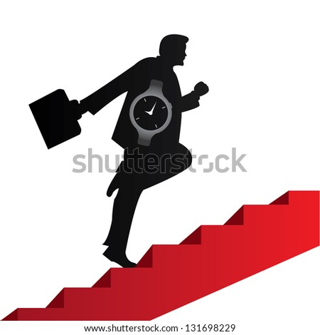 Business Solution and Time Management Concept Present By The Businessman With Time Watch Walking Upstairs for Best Vision in His Business Isolated on White Background - stock photo