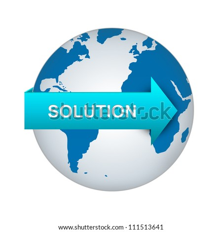Business Solution Concept, Blue Solution Arrow On The World Isolated on White Background