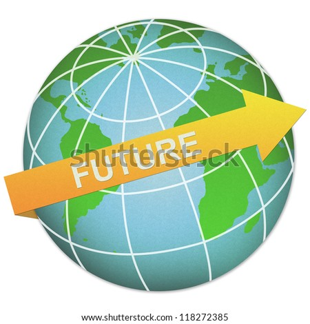 Business Solution Concept Present By Future Arrow and The Globe Made From Recycle Paper Isolated On White Background - stock photo