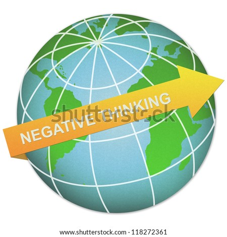 Business Solution Concept Present By Negative Thinking Arrow and The Globe Made From Recycle Paper Isolated On White Background - stock photo