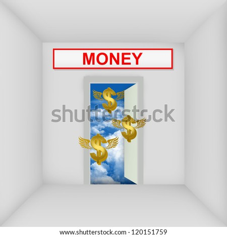 Business Solution Concept Present By The White Room With Money Door Open to The Blue Sky With Flying Golden Dollar Currency Sign - stock photo