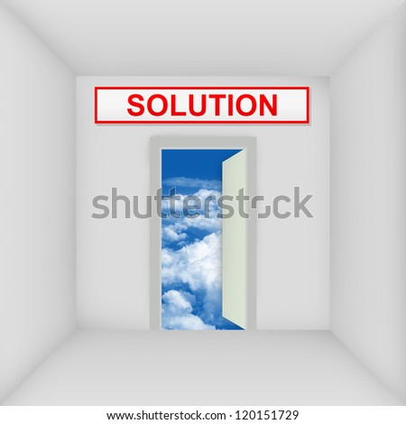Business Solution Concept Present By The White Room With Solution Door Open to The Blue Sky - stock photo