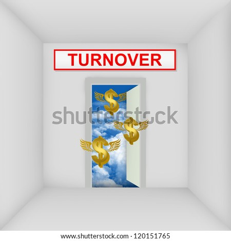 Business Solution Concept Present By The White Room With Turnover Door Open to The Blue Sky With Flying Golden Dollar Currency Sign - stock photo