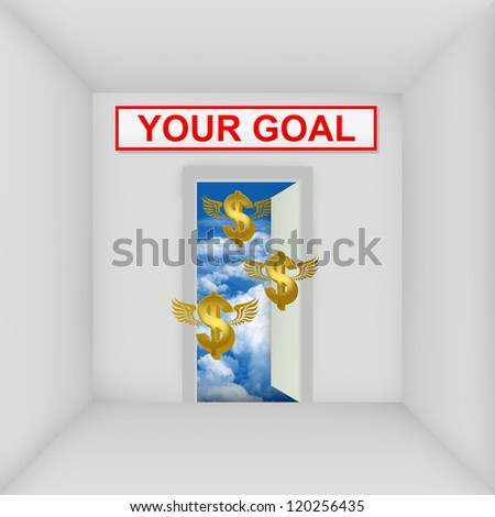 Business Solution Concept Present By The White Room With Your Goal Door Open to The Blue Sky With Flying Golden Dollar Currency Sign - stock photo