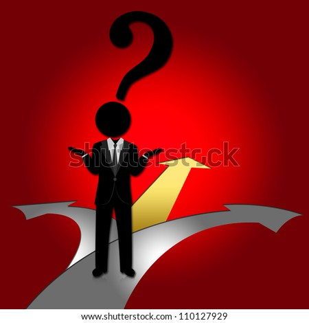 Business Solution Concept, Present With Businessman Who Has Question Mark Head and 3 Way for Decision in Red Glossy Style Background - stock photo
