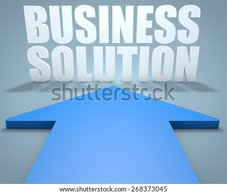 Business Solution - 3d render concept of blue arrow pointing to text. - stock photo
