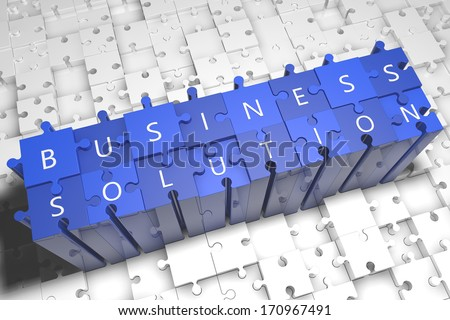 Business Solution - puzzle 3d render illustration with text on blue jigsaw pieces stick out of white pieces - stock photo