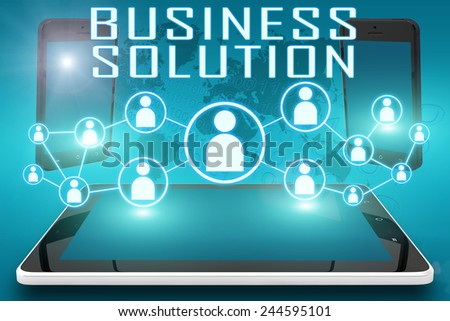Business Solution - text illustration with social icons and tablet computer and mobile cellphones on cyan digital world map background - stock photo