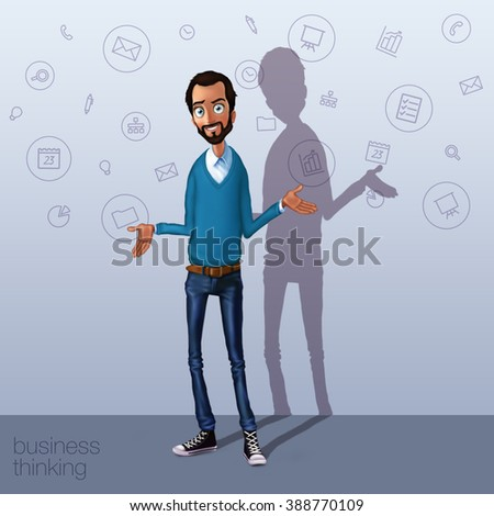 Business speech for billboard. Presentation of business product, project, report at conference. Man sharing ideas. Storytelling and sharing isolated. Cloud technology and sharing service for network - stock photo