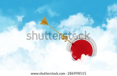 Business sphere. Clouds goal. Golden arrow - dollar. - stock photo