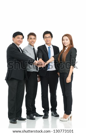 Business staff holding pile hands isolated