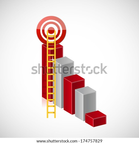 business stairs target illustration design over a white background - stock photo