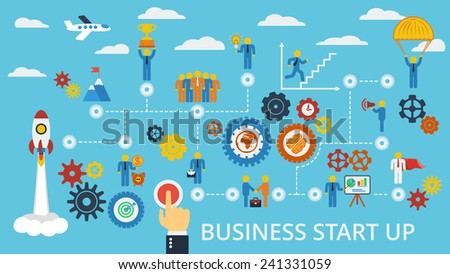 Business start up. Scheme with humans, icons and gears.