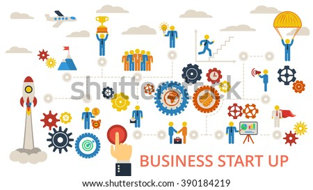 Business start up. Scheme with humans, icons and gears. Raster illustration on white. - stock photo