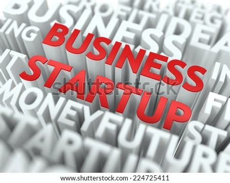 Business Startup - Wordcloud Concept in Red Color on White Background.