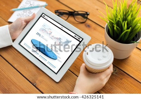 business, statistics, technology, people and advertisement concept - close up of woman with charts on tablet pc computer screen and coffee cup on wooden table - stock photo
