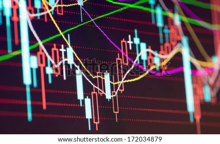 Business stats screen - stock photo
