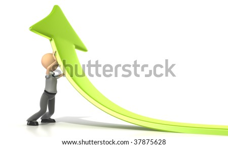 Business stick figure pushing up green arrow on a white background. Clipping path included.