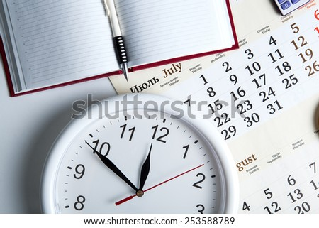 business stil life with clockface close up