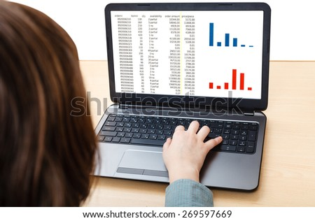 business still life - laptop with diagram on screen on office desk isolated on white background - stock photo