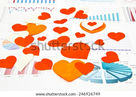 Business still-life of many color heart - stock photo