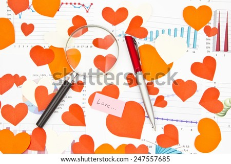 Business still-life of the magnifier, red pen, text message, many heart - stock photo